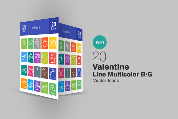 Thumbnail for 20 Valentine Line Multicolor Icons