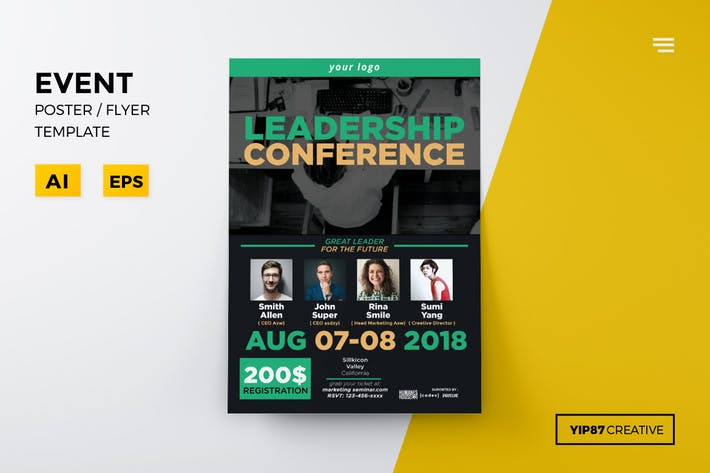 event conference flyer by yip87 on envato elements