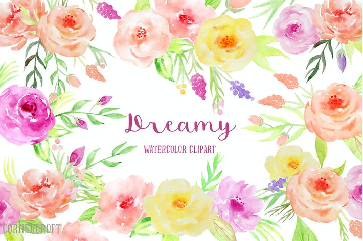 Thumbnail for Watercolor Clipart Dreamy Collection