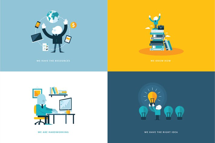 Thumbnail for Set of Flat Design Concept Icons