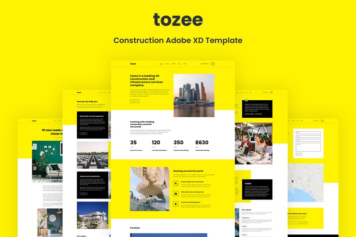 Thumbnail for Tozee - Construction Adobe XD Template