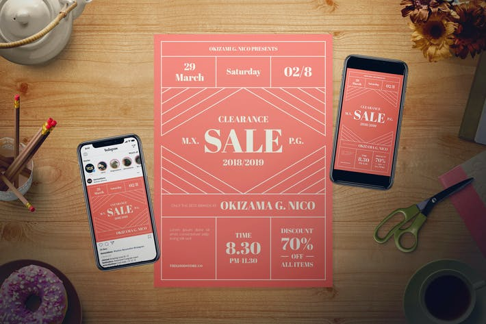 Thumbnail for Living Coral Sale Flyer Set