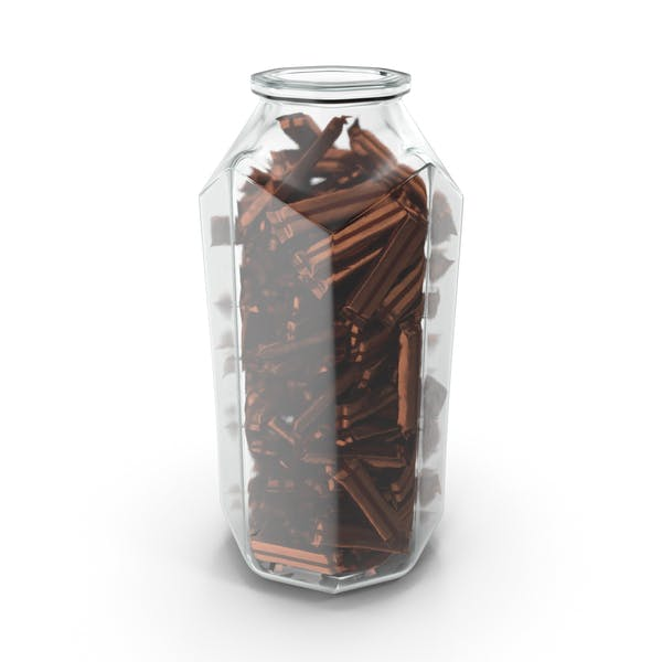 Octagon Jar with Wrapped Long Candy Bars