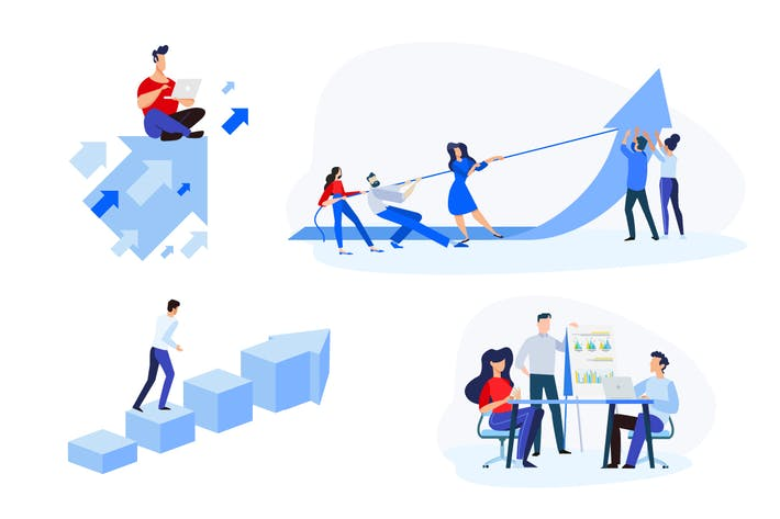 Thumbnail for Flache Designkonzepte der Teamarbeit, Geschäftserfolg