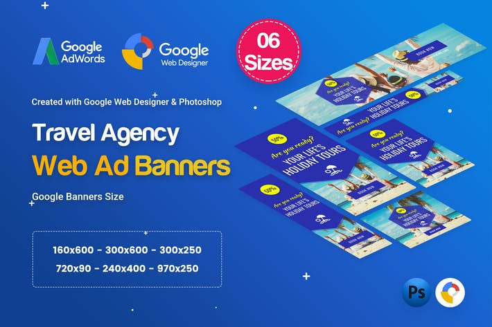 Thumbnail for Travel Agency Banners Ad D33 - Google Web Design
