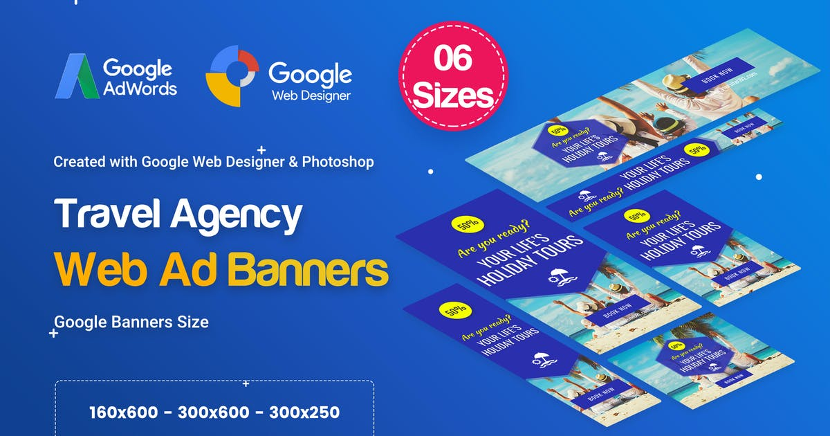 Download Travel Agency Banners Ad D33 - Google Web Design by iDoodle