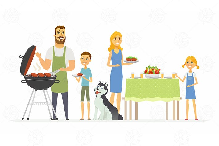 Thumbnail for Happy family at the barbecue - vector illustration