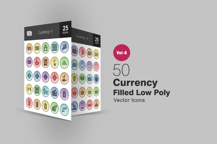 Thumbnail for 50 Currency Filled Low Poly Icons