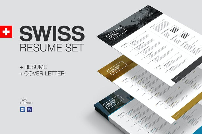 Thumbnail for Swiss Resume Set