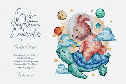 nette Aquarell-Illustration von Hase und Schildkröte