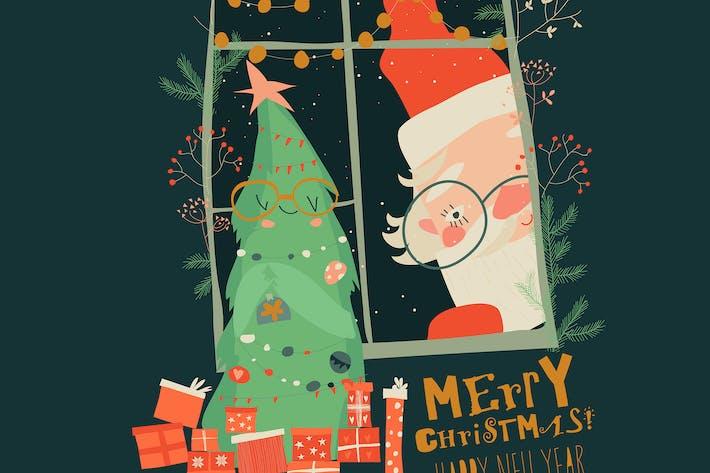 Thumbnail for Cartoon Santa Claus look through the window.