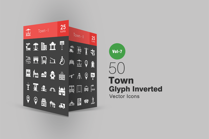 Thumbnail for 50 Town Glyph Inverted Icons