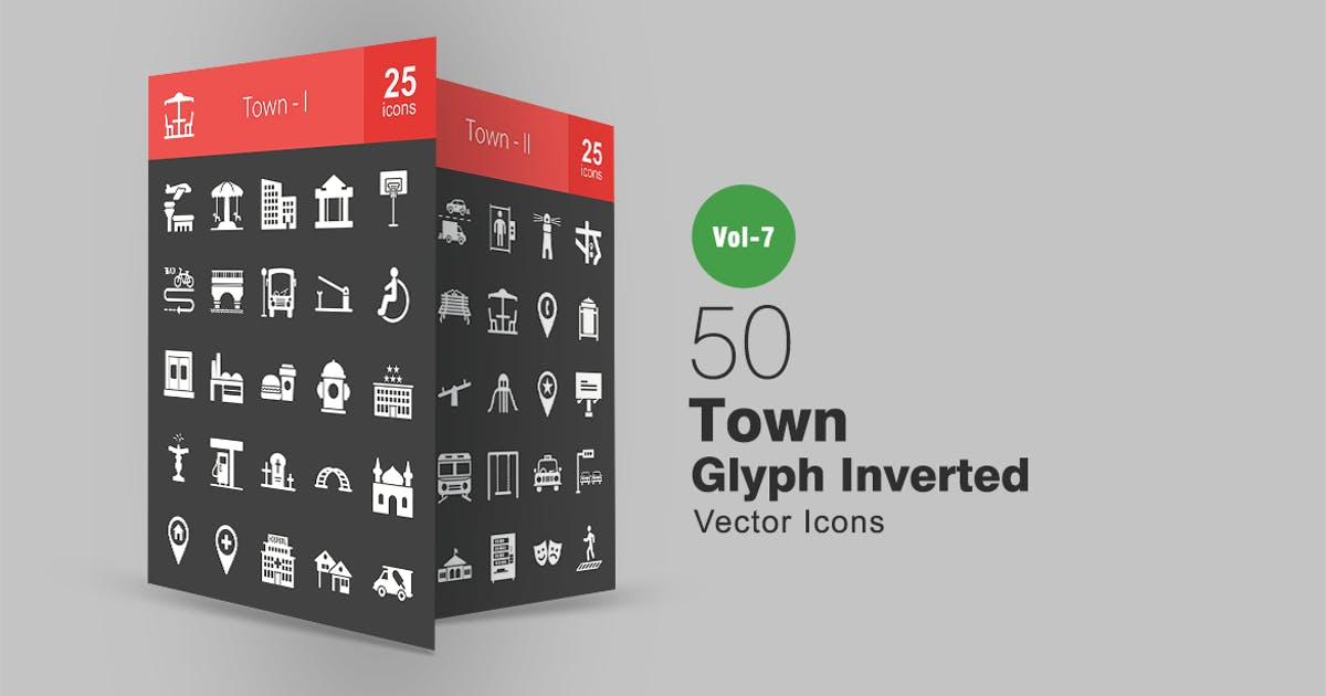 Download 50 Town Glyph Inverted Icons by IconBunny