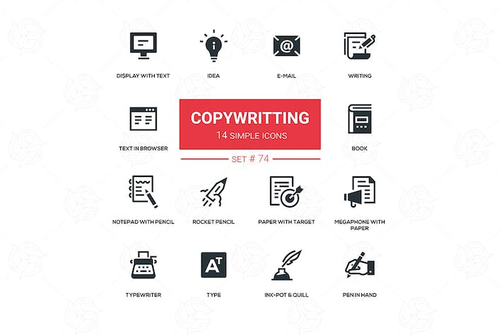 Thumbnail for Copywriting - flat design silhouette icons set