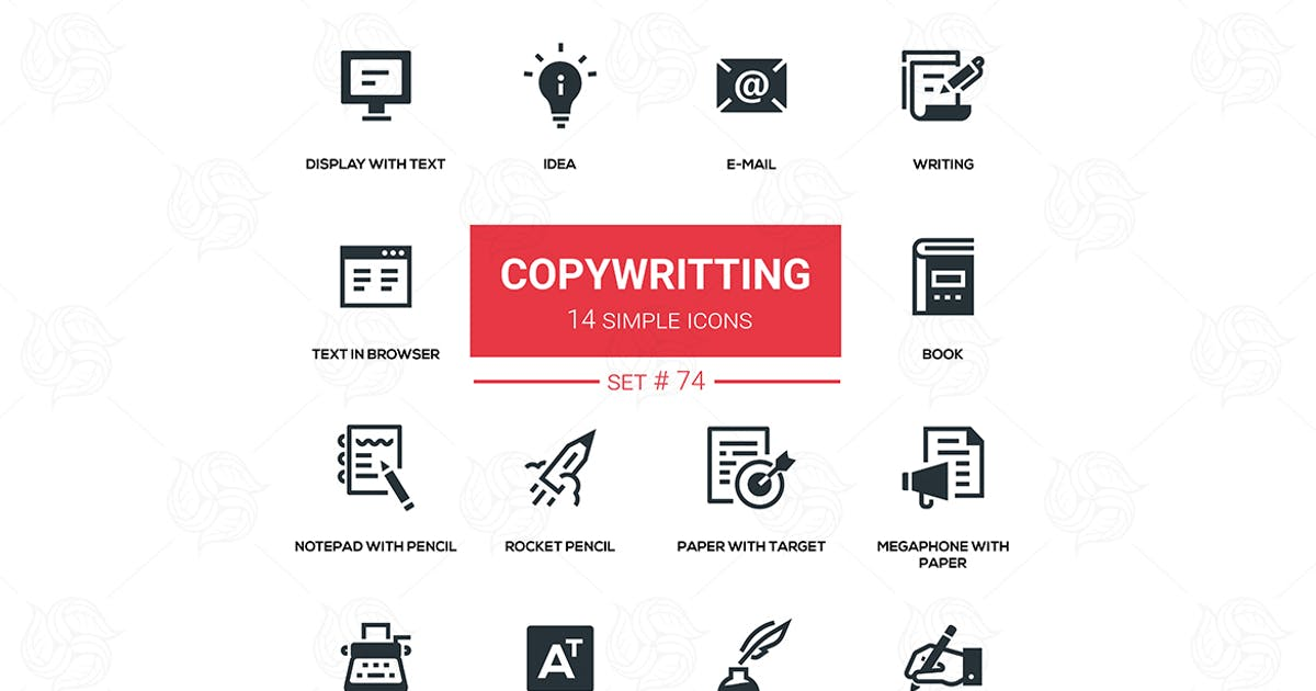 Download Copywriting - flat design silhouette icons set by BoykoPictures