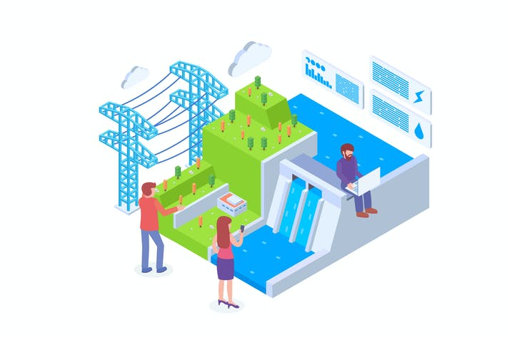 Thumbnail for Hydro Power Technology Isometric Vector