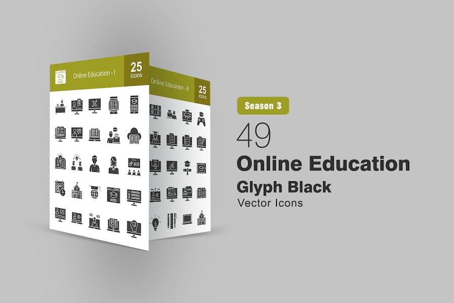 49 Online-Bildung Glyphe Icons