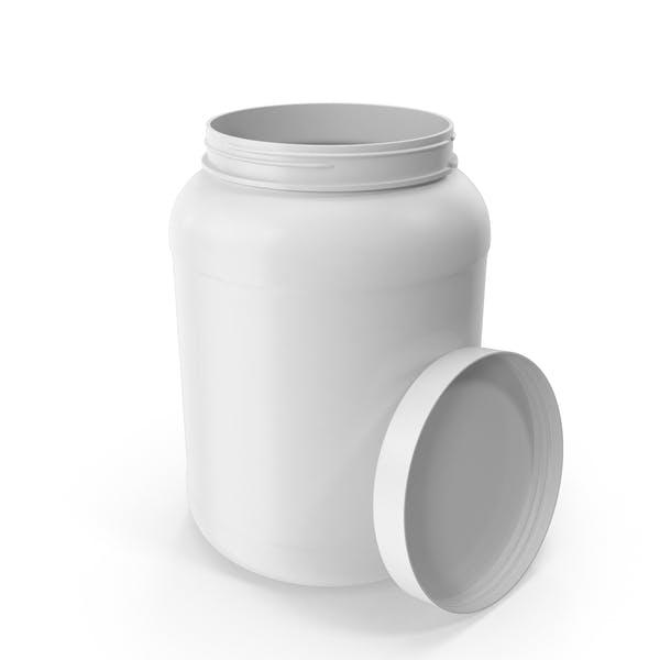 Botella de plástico de boca ancha galón blanco abierto