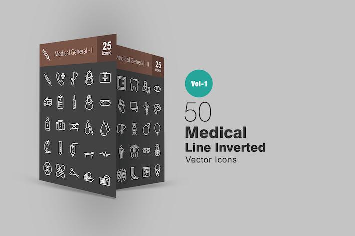 Thumbnail for 50 Íconos invertidos de línea Medicina