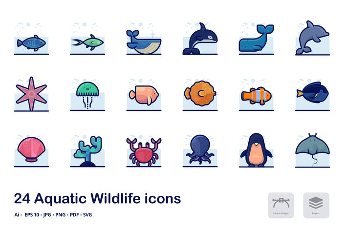 Thumbnail for Aquatic Wildlife Detailed filled outline icons