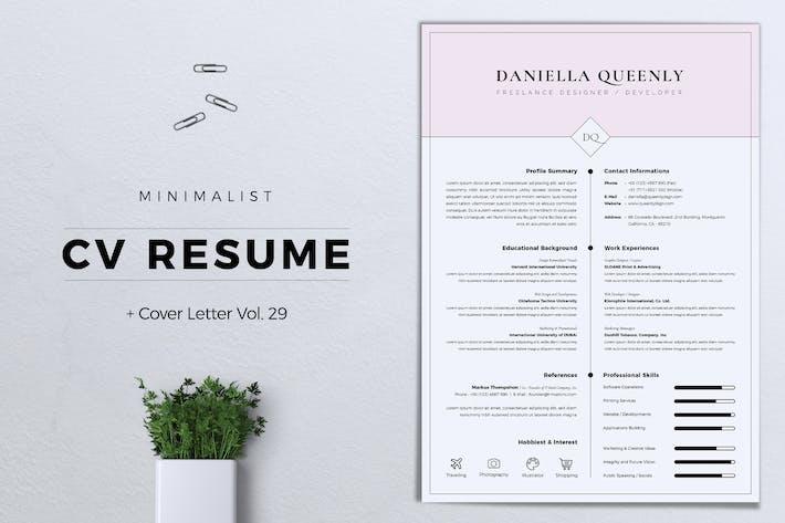 Thumbnail for Minimalist CV Resume Vol. 29