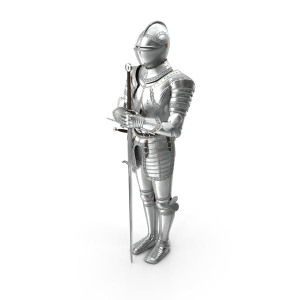 Polished Knight Plate Armour Standing with Zweihander