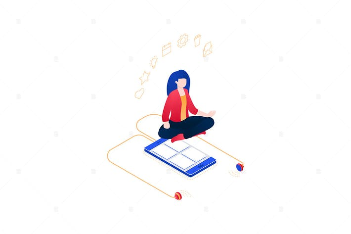 Thumbnail for Meditation at work - isometric illustration