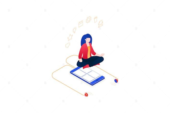 Thumbnail for Медитация на работе - изометрическая иллюстрация