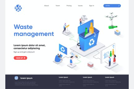 Waste Management Isometric Landing Page Template