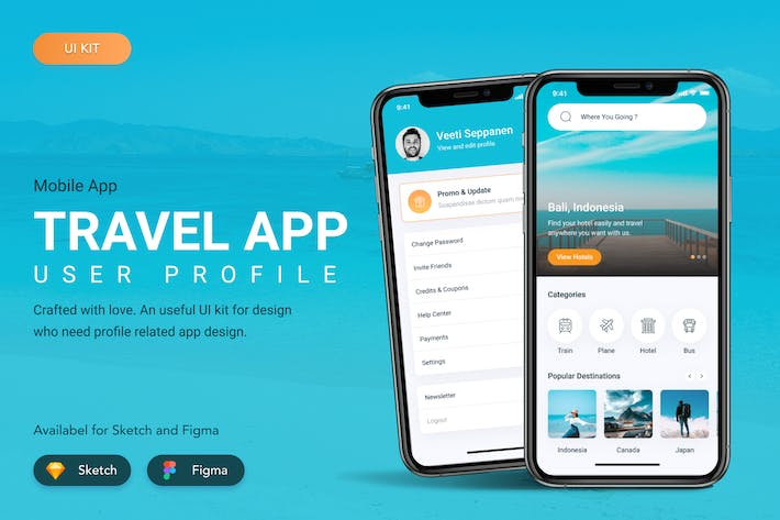 Thumbnail for Travel App User Interface Figma Sketch