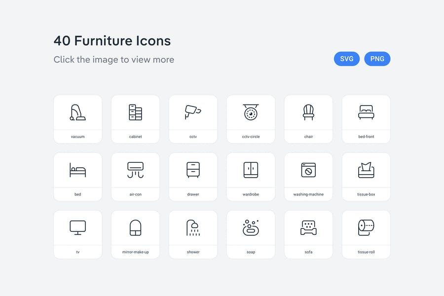 Furniture icons — Line