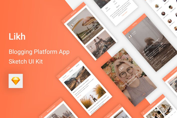 Thumbnail for Likh - Blogging Platform UI Kit for Sketch