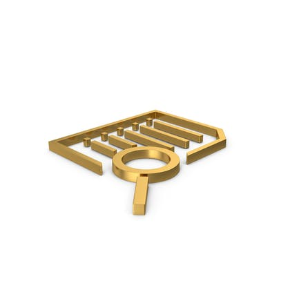 Gold Symbol Document With Magnifying Glass