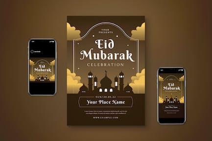 Happy Eid Mubarak Flyer Set