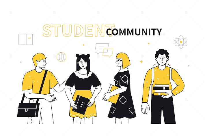 Student community - flat design style illustration