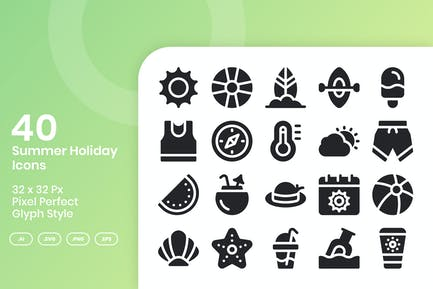 40 Summer Holiday Icons Set - Glyph