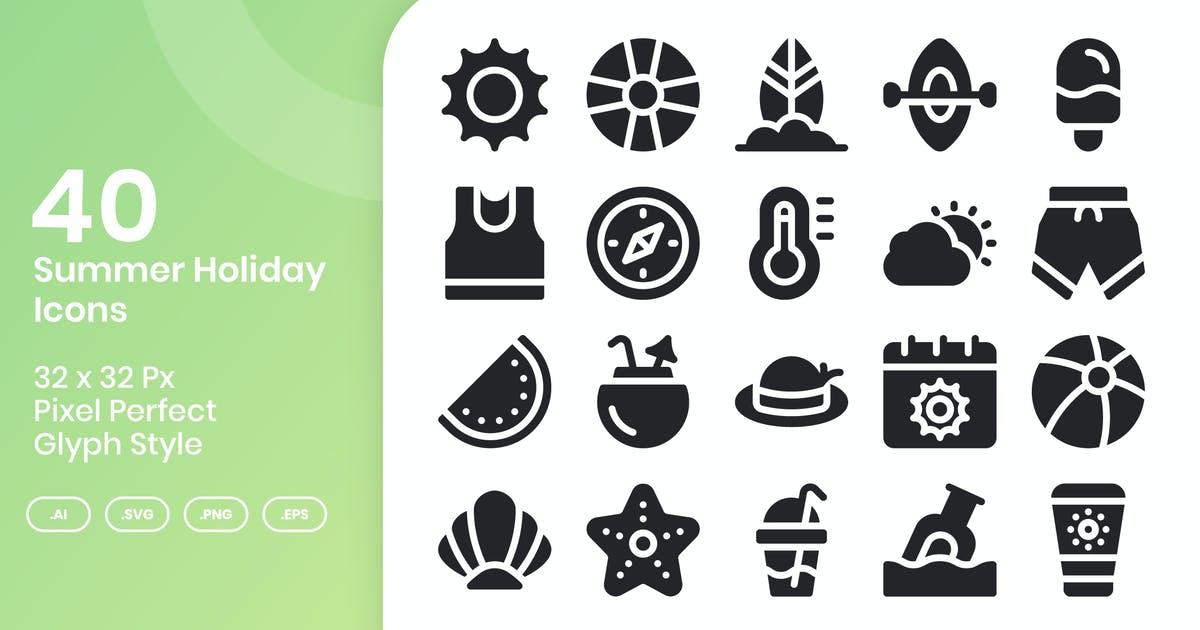 Download 40 Summer Holiday Icons Set - Glyph by kmgdesignid