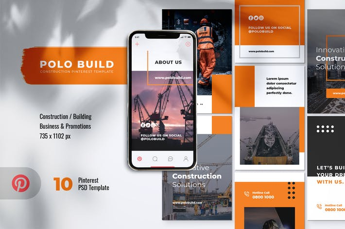 Thumbnail for POLO Construction Pinterest Template