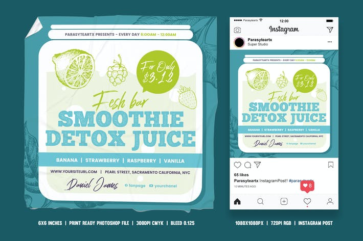 Thumbnail for Smoothie Juice Square Flyer & Instagram Post