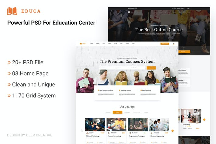 Thumbnail for EDUCA | Multiconcept Education & Courses PSD Templ