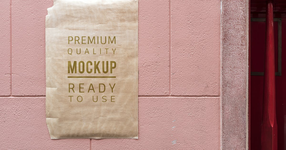 Download Poster mockup on a pink wall by Rawpixel