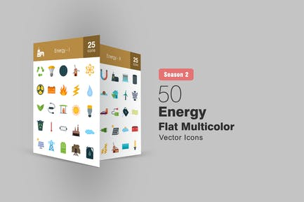 50 Energy Flat Multicolor Icons Season II