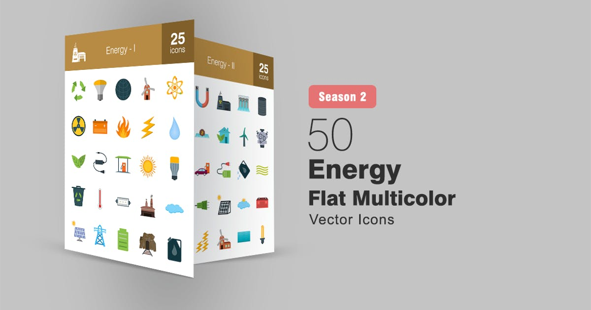 Download 50 Energy Flat Multicolor Icons Season II by IconBunny