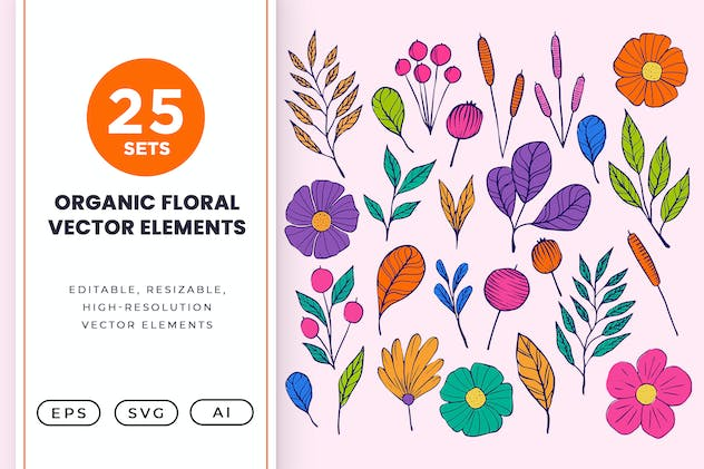 25 Organic Floral and Flower Vector Element