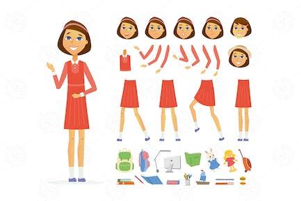 Schoolgirl - cartoon people character constructor