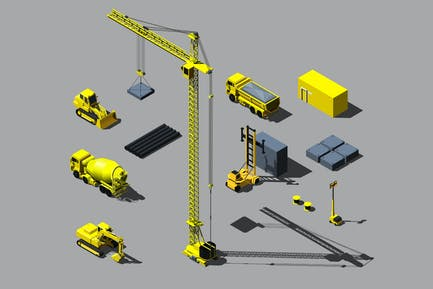 Vector isometric construction vehicle