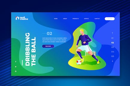 Soccer Sports Web PSD and AI Vector Template