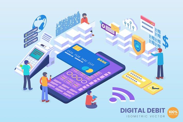 Isometrisches Secure Digital Debit Vektor Konzept