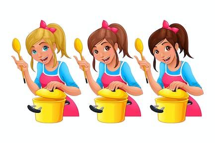 Mädchen mit Löffel ist Kochen