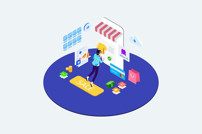 Thumbnail for Shopping Online with VR Isometric - T2